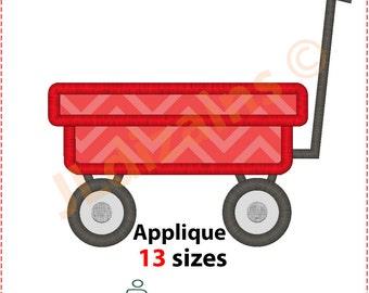Kids Wagon Applique Design. Kids wagon embroidery design. Red wagon applique design. Toy wagon embroidery.  Wagon. Machine embroidery design