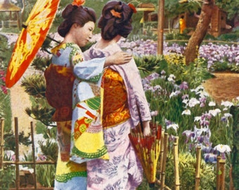 Japanese Girlfriends in a Garden - a vintage photo print from the 1920's.