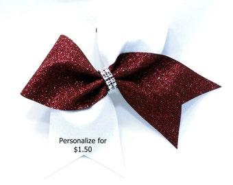 Burgundy cheer bow, Cheer bows, White glitter Cheer bow, personalized cheer bow, cheerleader bow, cheerleading bow, softball bow, cheer bow