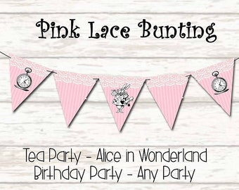 Pink bunting Banner Pink Party Banner Tea Party decor Alice in Wonderland Bunting Garland Birthday Party Bunting party supplies Tea Party