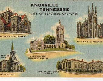Linen Postcard, Knoxville, Tennessee, City of Beautiful Churches, Five Shown, 1950