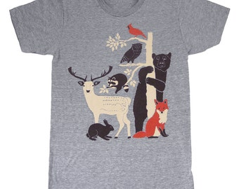 Forest Friends - Unisex / Mens T-Shirt Gray Tee Shirt Woodland Deer Bird Fox Rabbit Owl Bear Raccoon Nature Animals Tree Ath Grey Tshirt