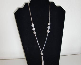 Diamonds on chain necklace and tassel stainless steel chain