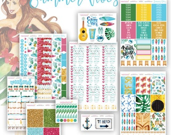 Summer Vibes Planner Sticker Set, Bible Journaling Stickers, Faith Dori Stickers, Travelers Notebook