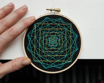 Chartreuse Path - Hand Stitched Embroidery - 4 Inch Hoop Art