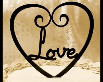 LOVE wedding cake topper - Love inside heart VALENTINES DAY cake topper - Love cake topper - love