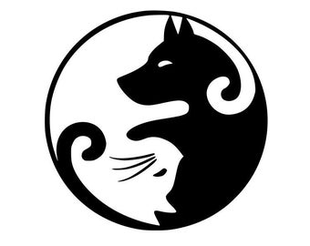 Dog and Cat Ying Yang Vinyl Sticker