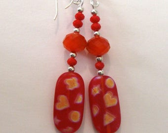 The Speed of Red - earrings - long earrings - red glass with blurred symbols - sterling silver
