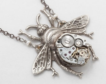Steampunk Jewelry, Bumble Bee Necklace with Vintage Watch Movement, Ruby Jewels & Gears, Wire Wrapped Genuine Pearl on Silver Beaded Chain