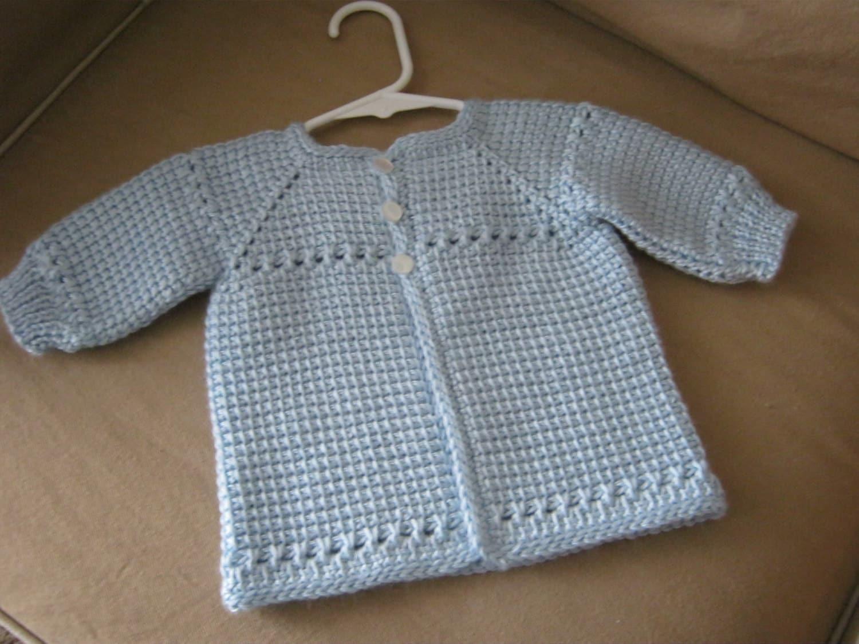 Crochet baby boy sweater blue made to order tunisian zoom bankloansurffo Gallery