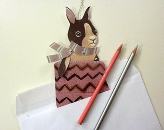 Cute Printable Bunny Paper Doll & Heart Mitten Card for Christmas or for Romance Woodland Animals, Pink, Gray