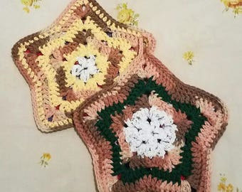 READY TO SHIP--Crochet Potholders---Double Layer Star Potholders--Multicolor--Yellow, Green, White, Brown, Variegated