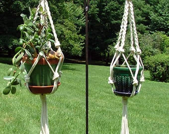 36 inch Macrame Cotton Rope Braids and Knots Plant Hanger Great Stocking Stuffer
