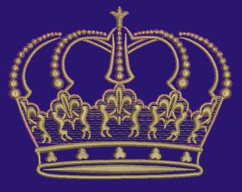 crown with lions Machine Embroidery Design