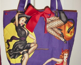 Purple Bewitched Pinup Girls Retro  Tote BAG or Diaperbag