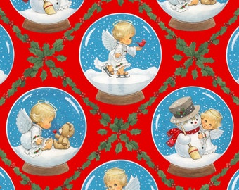 Fat Quarter Christmas Cherubs Angels And Snowmen Red Cotton Quilting Fabric
