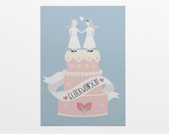 Folding card/Wedding card with cover: Lesbian wedding