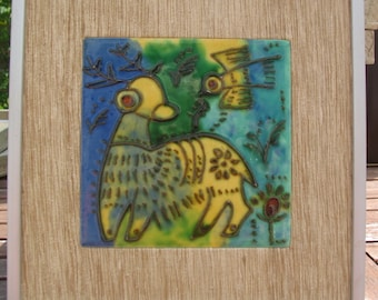 "Artisan Ceramic Tile Art Seagrass Matt with Satin Silverstone Frame  ""The Fawn & Bird"" No. 20"