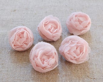 Chic Embroidery Victorian Wedding Elegant Soft Pink Satin 3D Lace Floral Flower Buttons-Handmade Fabric Covered Buttons(5Pcs, 0.75 Inches)