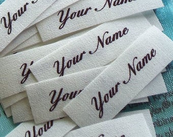 Qty 48 - 1/2 x 2 1/2 Inch Custom Cotton Fabric Labels Sew On Clothing Name Tags Identification White Colorfast