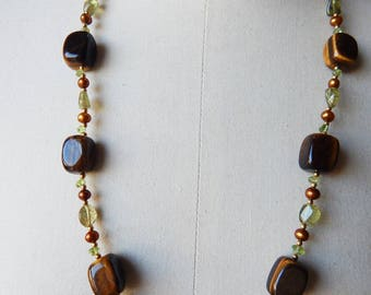 Tiger's Eye Peridot and Bronze Freshwater Pearl Vintage Bead Necklace by Lee Sands - Gemstone Jewellery