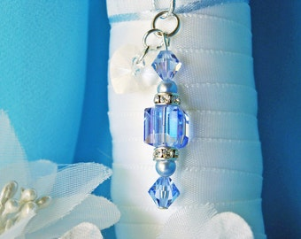 Something Blue Wedding Bouquet Charm Swarovski Crystal Bridal Bouquet Accessories