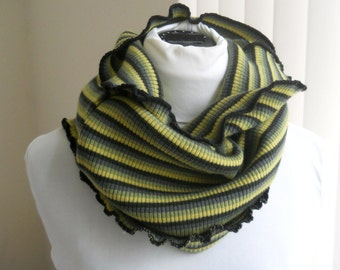 Tube Cowl, Upcycled Motherboard Green Striped Knit