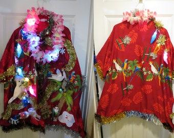 Tropical Tacky Ugly Christmas Sweater Party Hawaiian Shirt Light up Lei, Melted Snowman XXL  XXlarge  Mele Kalikimaka, Tropical Christmas