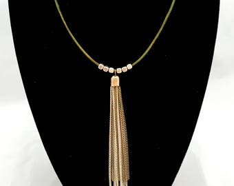 Green Leather chocker necklace with silver and bronze pendant and beads