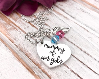 Mommy Of Angels Heart Pendant Infant Loss Pregnancy Memorial Wing Necklace Baby Keepsake Miscarriage Grieving Mother Gift