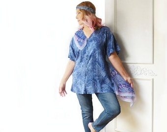 Plus size asymmetrical tunic, periwinkle blue, scarf, oversize top, artsy, FREE SHIPPING, boyfriend shirt, Upcycled  clothing, eco clothing