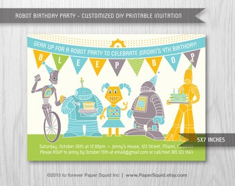 Robot Birthday Party Invitation - 5x7 Inches - Digital File - Print Your Own Item #155B