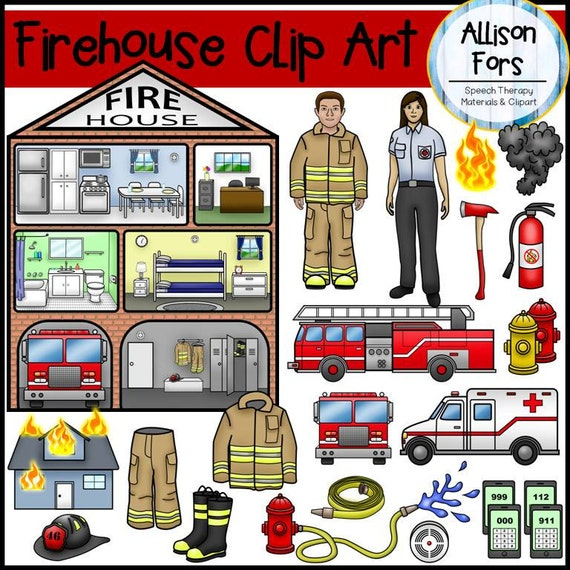 firehouse firefighter clip art rh etsy com firehouse clipart black and white firehouse clipart