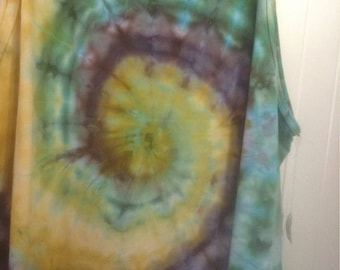 Mens XXl 2X tie dye tank top fruit of the loom gold seaform grey wave swirl natural fiber