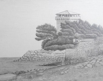 Coastal fort -- Original Graphite drawing | Detailed seascape drawing with architectural elements.