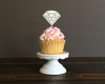 Diamond Cupcake toppers, bridal shower cupcake toppers, bridal shower decorations, wedding cupcake toppers, engagement party decorations