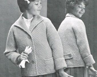 Vintage Knitting Pattern - Raglan Sleeve box coat for Children -  PDF Download - Retro - 70's 80's