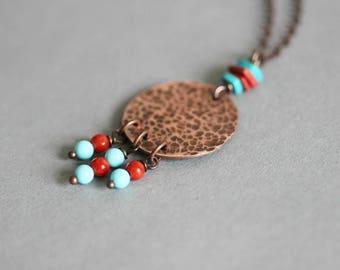 Copper Boho Necklace Copper Hammered Pendant Beaded Copper Necklace  Boho Necklace Gemstone Copper Pendant Turquoise Copper Coral Copper