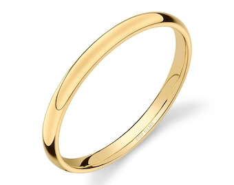 14k Yellow Gold Band (2mm THIN) / PLAIN / Polished Rounded Dome + Comfort Fit / Men's Women's Wedding Ring Thin