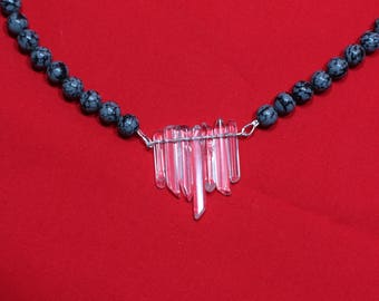 SnowFlake and Ice Necklace Sterling Silver Obsidian Stone Quartz Crystal