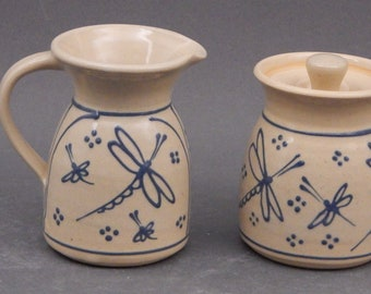 Cream and Sugar Set- Two Piece Set - Blue Dragonfly- Stoneware Pottery Creamer or Gravy boat