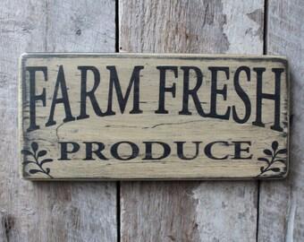 Primitive Wood Sign Farm Fresh Produce Cabin Country Rustic Farmhouse Kitchen Wall Decor Garden Decor Patio Porch Deck Eatery Decor