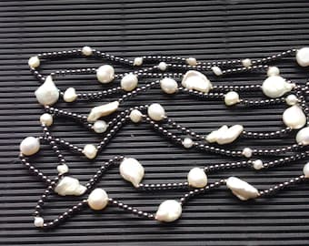 Vintage cultured  pearl and metal bead necklace