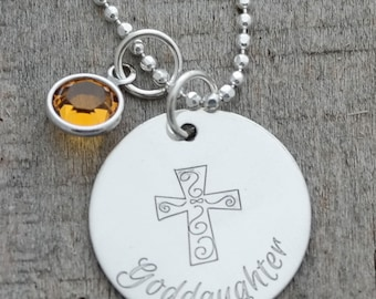 Goddaughter Engraved Personalized Birthstone Necklace
