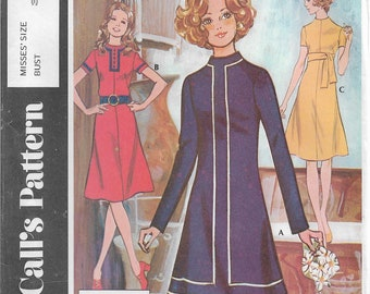 Post Cereal Pattern E McCall's #2975 Misses Sizes 8 Bust 31.5 A Line Dress Flared Skirt Jewel Neckline Braid Trim Button Trim Back Zipper