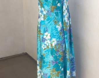 Vintage Luau muumuu long dress by Sears Hawaiian Fashion blue florsl sz medium