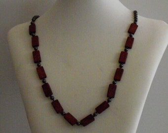 Leather and Glass Pearl Necklace