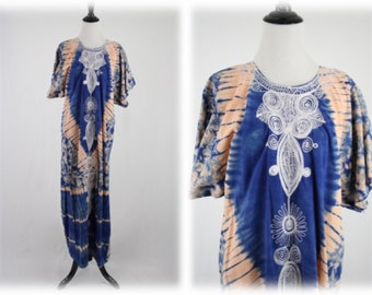 Vintage Tie Dyed Embroidered Cotton Maxi Caftan