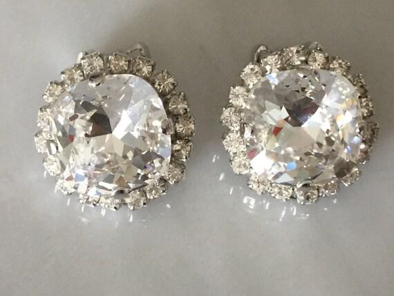 Swarovski Crystal Cushion Cut Halo Clip On Earrings,  Silver