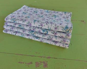 Everyday Cloth Napkins, Set of 4, White/Lavender, Blue Small Flowers